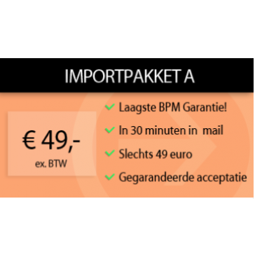 Importpakket A - ingevulde BPM aangifte